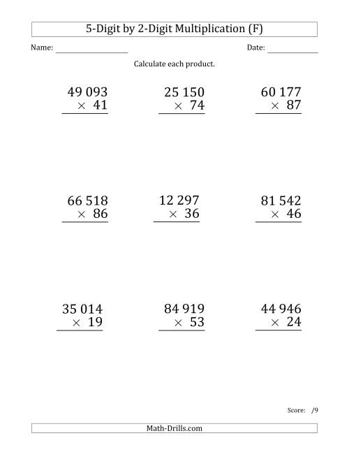 The Multiplying 5-Digit by 2-Digit Numbers (Large Print) with Space-Separated Thousands (F) Math Worksheet