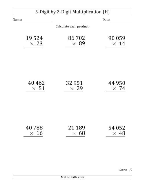 The Multiplying 5-Digit by 2-Digit Numbers (Large Print) with Space-Separated Thousands (H) Math Worksheet