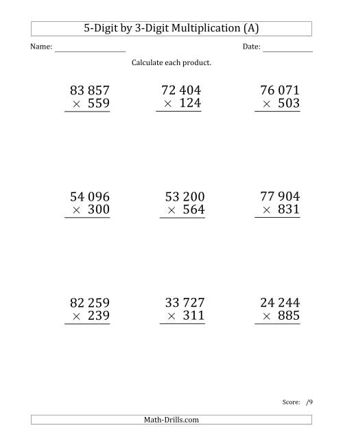 The Multiplying 5-Digit by 3-Digit Numbers (Large Print) with Space-Separated Thousands (A) Math Worksheet