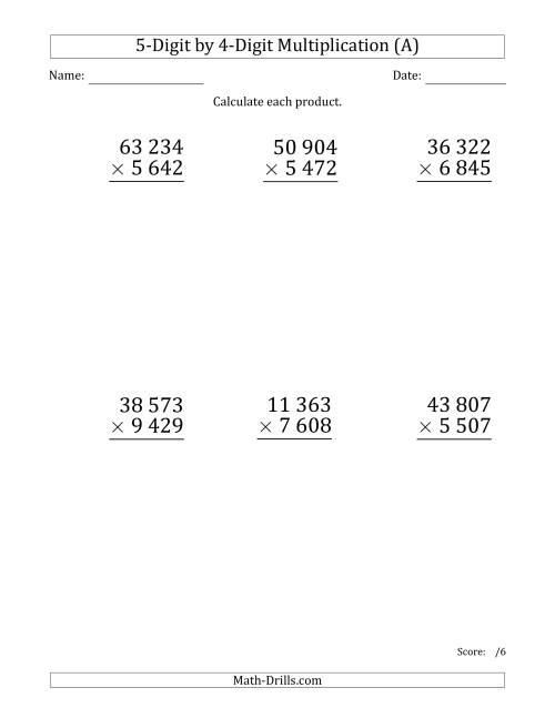 The Multiplying 5-Digit by 4-Digit Numbers (Large Print) with Space-Separated Thousands (A) Math Worksheet