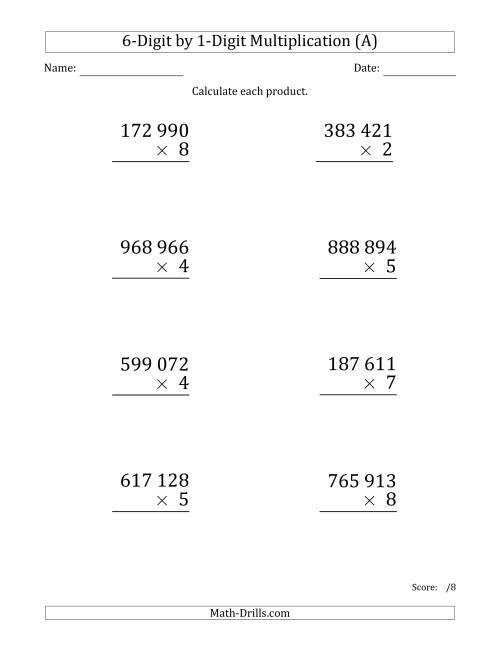 The Multiplying 6-Digit by 1-Digit Numbers (Large Print) with Space-Separated Thousands (A) Math Worksheet