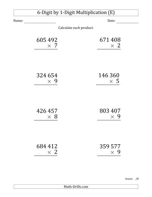 The Multiplying 6-Digit by 1-Digit Numbers (Large Print) with Space-Separated Thousands (E) Math Worksheet