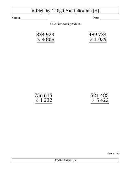 The Multiplying 6-Digit by 4-Digit Numbers (Large Print) with Space-Separated Thousands (H) Math Worksheet