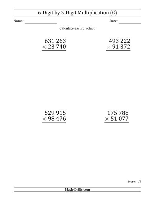 The Multiplying 6-Digit by 5-Digit Numbers (Large Print) with Space-Separated Thousands (C) Math Worksheet