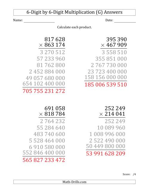 The Multiplying 6-Digit by 6-Digit Numbers (Large Print) with Space-Separated Thousands (G) Math Worksheet Page 2