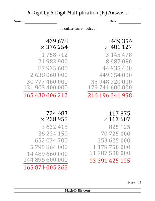 The Multiplying 6-Digit by 6-Digit Numbers (Large Print) with Space-Separated Thousands (H) Math Worksheet Page 2
