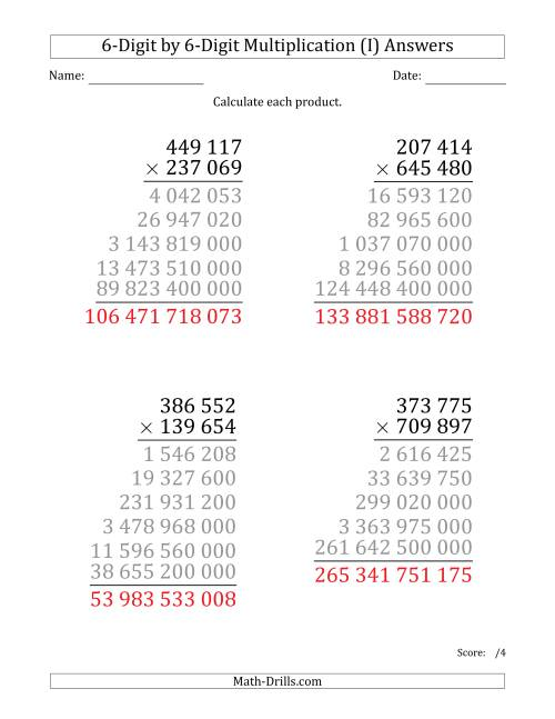 The Multiplying 6-Digit by 6-Digit Numbers (Large Print) with Space-Separated Thousands (I) Math Worksheet Page 2