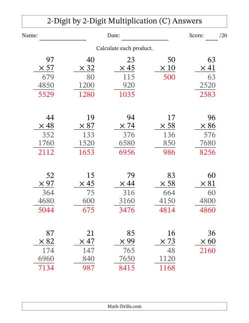 The Multiplying 2-Digit by 2-Digit Numbers (C) Math Worksheet Page 2