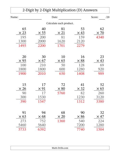 The Multiplying 2-Digit by 2-Digit Numbers (D) Math Worksheet Page 2