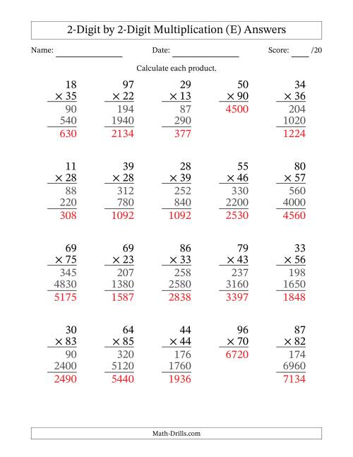 The Multiplying 2-Digit by 2-Digit Numbers (E) Math Worksheet Page 2