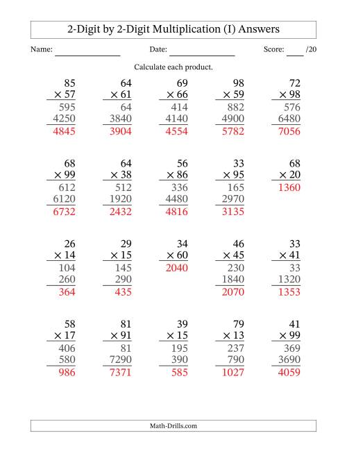 The Multiplying 2-Digit by 2-Digit Numbers (I) Math Worksheet Page 2