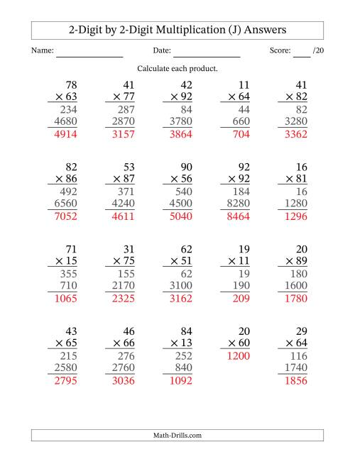 The Multiplying 2-Digit by 2-Digit Numbers (J) Math Worksheet Page 2