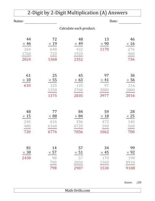 The Multiplying 2-Digit by 2-Digit Numbers (Old) Math Worksheet Page 2