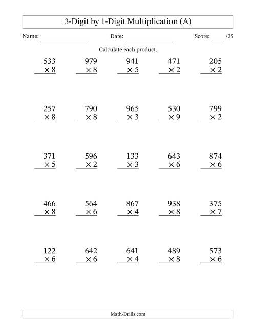 The Multiplying 3-Digit by 1-Digit Numbers (A) Math Worksheet