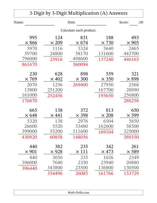 graphic relating to 3 Digit Multiplication Worksheets Printable titled Multiplying 3-Digit as a result of 3-Digit Figures (A)
