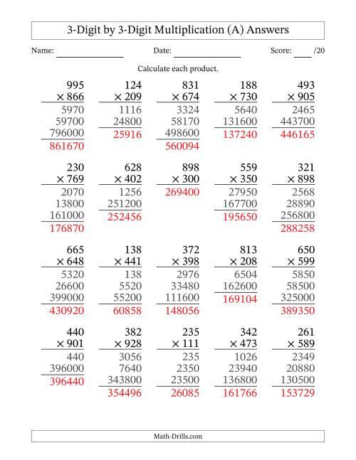Multiplying 3-Digit by 3-Digit Numbers (All)