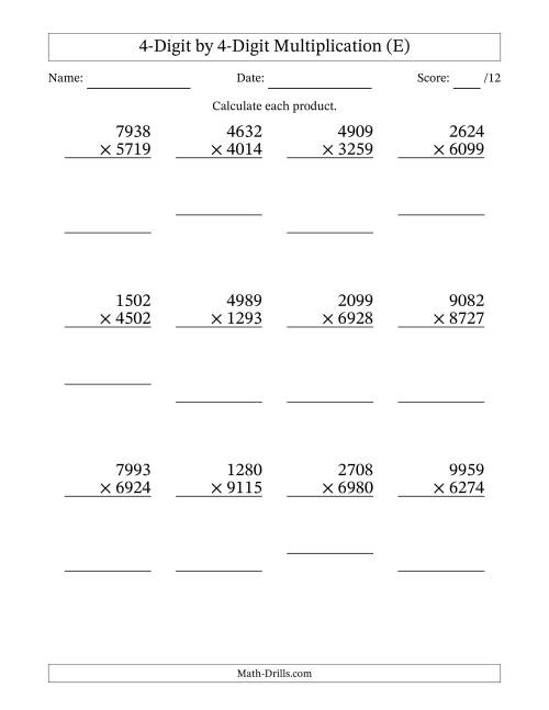 The Multiplying 4-Digit by 4-Digit Numbers (E) Math Worksheet