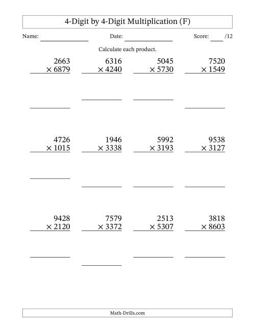 The Multiplying 4-Digit by 4-Digit Numbers (F) Math Worksheet