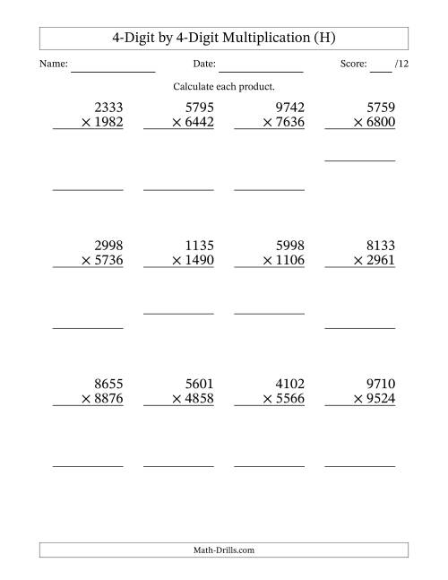 The Multiplying 4-Digit by 4-Digit Numbers (H) Math Worksheet