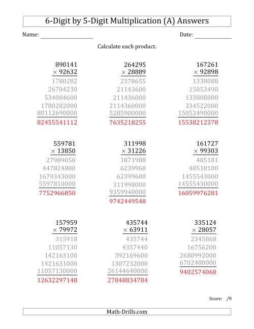The Multiplying 6-Digit by 5-Digit Numbers (A) Math Worksheet Page 2