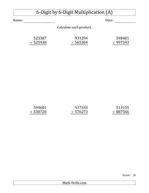 The Multiplying 6-Digit by 6-Digit Numbers (A) Math Worksheet