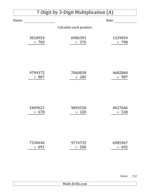 The Multiplying 7-Digit by 3-Digit Numbers (A) Math Worksheet