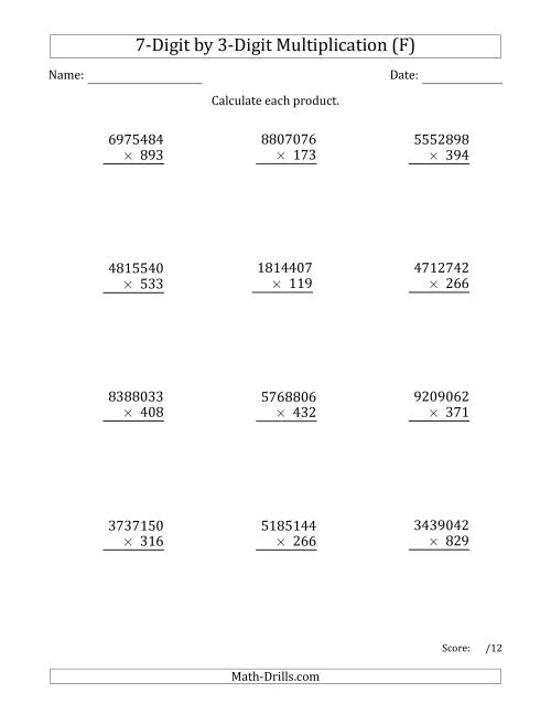 The Multiplying 7-Digit by 3-Digit Numbers (F) Math Worksheet