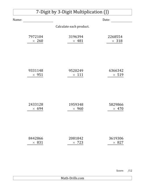 The Multiplying 7-Digit by 3-Digit Numbers (J) Math Worksheet