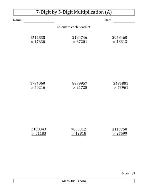 The Multiplying 7-Digit by 5-Digit Numbers (A) Math Worksheet