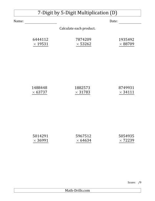 The Multiplying 7-Digit by 5-Digit Numbers (D) Math Worksheet