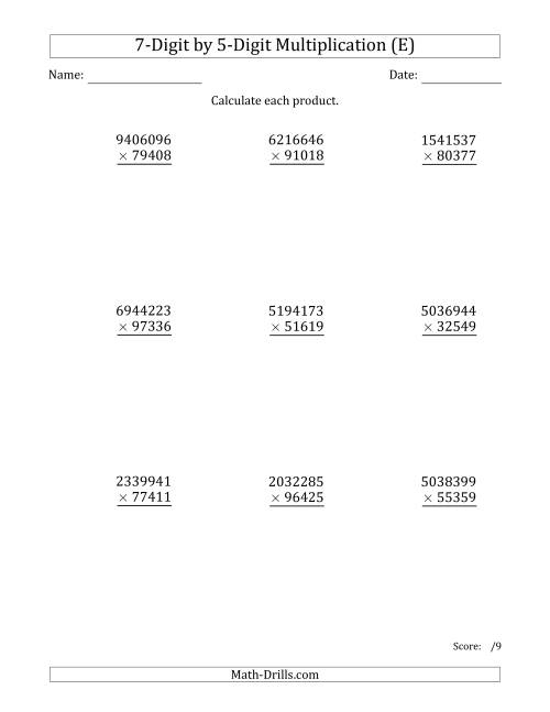 The Multiplying 7-Digit by 5-Digit Numbers (E) Math Worksheet