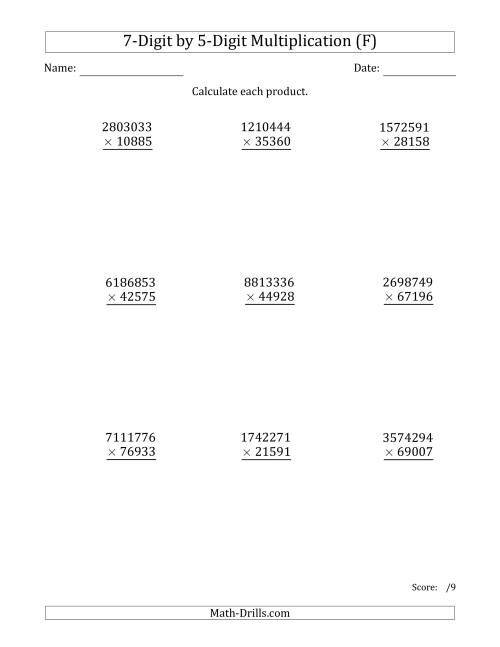 The Multiplying 7-Digit by 5-Digit Numbers (F) Math Worksheet