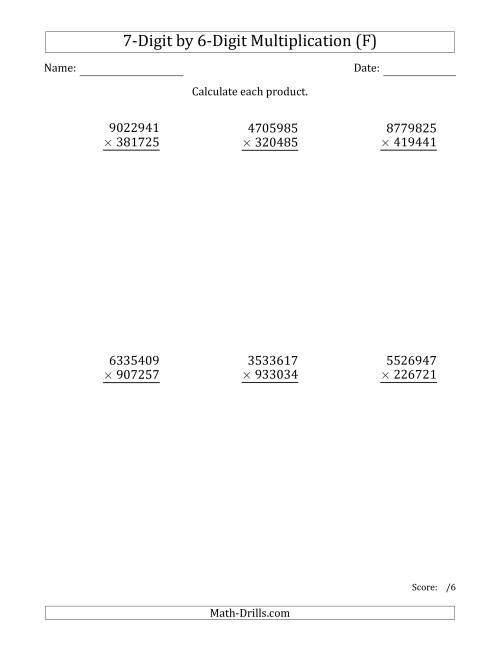 The Multiplying 7-Digit by 6-Digit Numbers (F) Math Worksheet