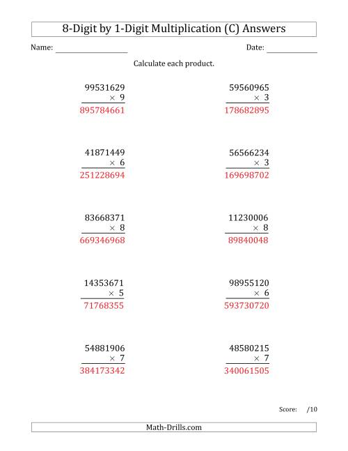 The Multiplying 8-Digit by 1-Digit Numbers (C) Math Worksheet Page 2