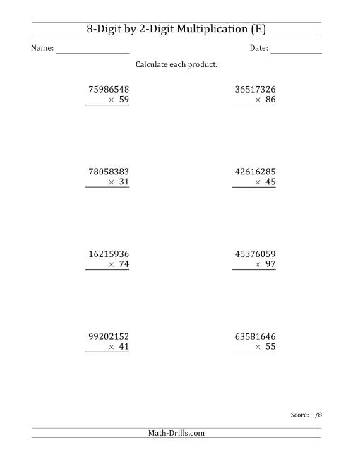 The Multiplying 8-Digit by 2-Digit Numbers (E) Math Worksheet