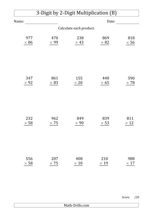 The Multiplying 3-Digit by 2-Digit Numbers with Period-Separated Thousands (B) Math Worksheet
