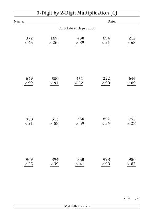 The Multiplying 3-Digit by 2-Digit Numbers with Period-Separated Thousands (C) Math Worksheet