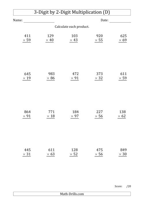 The Multiplying 3-Digit by 2-Digit Numbers with Period-Separated Thousands (D) Math Worksheet