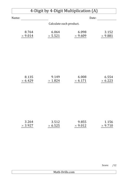 The Multiplying 4-Digit by 4-Digit Numbers with Period-Separated Thousands (A) Math Worksheet