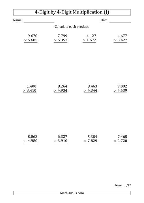The Multiplying 4-Digit by 4-Digit Numbers with Period-Separated Thousands (J) Math Worksheet