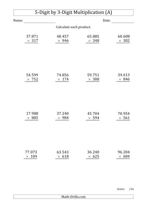 The Multiplying 5-Digit by 3-Digit Numbers with Period-Separated Thousands (All) Math Worksheet