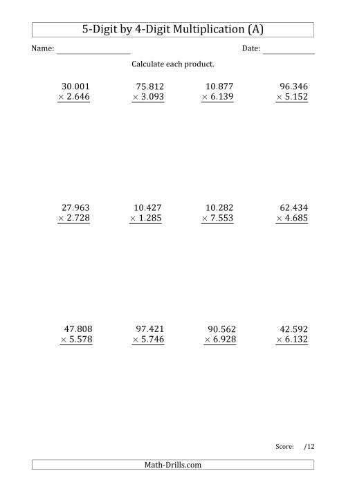 math worksheet : multiplying 5 digit by 4 digit numbers with period separated  : 4 Digit Multiplication Worksheets