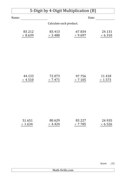 The Multiplying 5-Digit by 4-Digit Numbers with Period-Separated Thousands (B) Math Worksheet