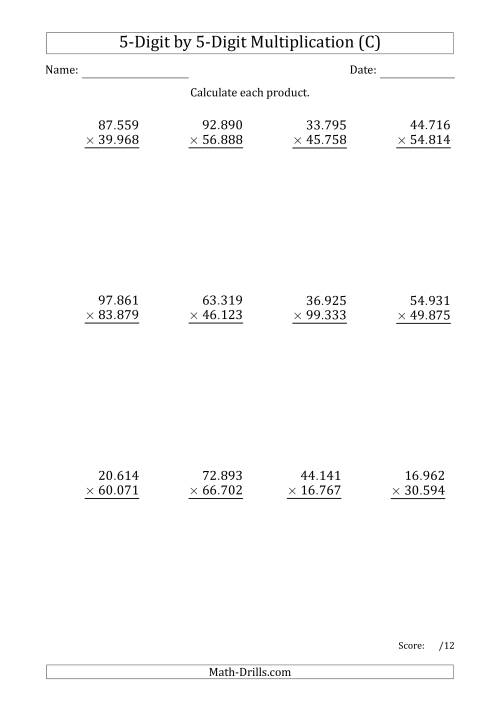The Multiplying 5-Digit by 5-Digit Numbers with Period-Separated Thousands (C) Math Worksheet