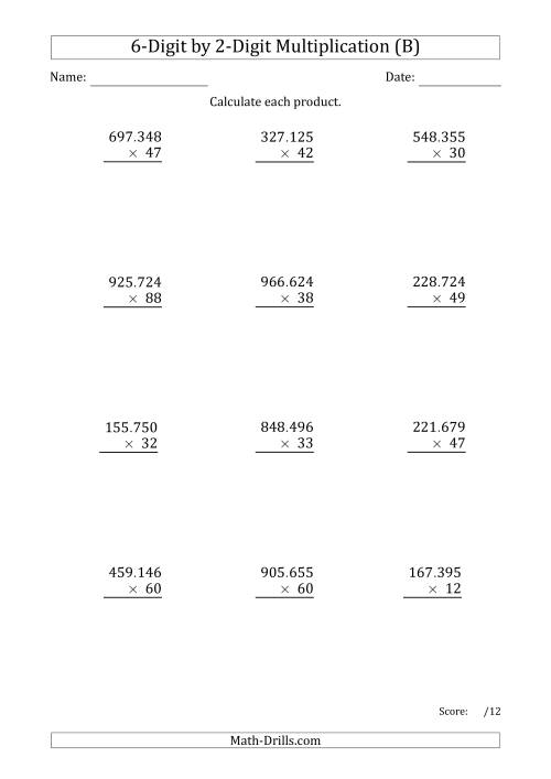 The Multiplying 6-Digit by 2-Digit Numbers with Period-Separated Thousands (B) Math Worksheet