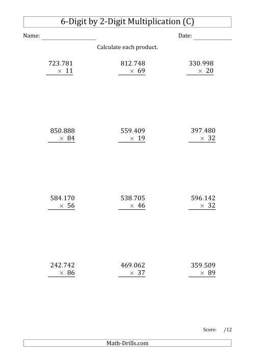 The Multiplying 6-Digit by 2-Digit Numbers with Period-Separated Thousands (C) Math Worksheet