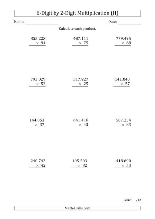 The Multiplying 6-Digit by 2-Digit Numbers with Period-Separated Thousands (H) Math Worksheet