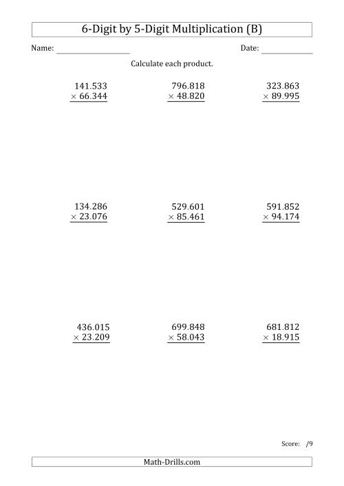 The Multiplying 6-Digit by 5-Digit Numbers with Period-Separated Thousands (B) Math Worksheet