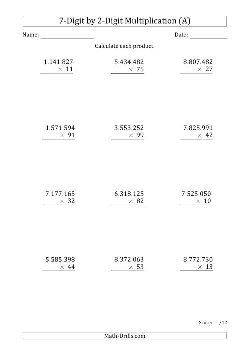 The Multiplying 7-Digit by 2-Digit Numbers with Period-Separated Thousands (A) Math Worksheet
