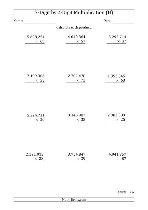The Multiplying 7-Digit by 2-Digit Numbers with Period-Separated Thousands (H) Math Worksheet
